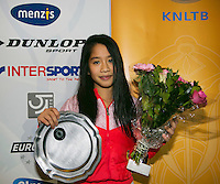 01-12-13,Netherlands, Almere,  National Tennis Center, Tennis, Winter Youth Circuit, Winner : Lian Tran  <br /> Photo: Henk Koster