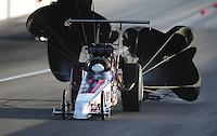 Mar. 31, 2012; Las Vegas, NV, USA: NHRA top alcohol dragster driver Chris Demke during qualifying for the Summitracing.com Nationals at The Strip in Las Vegas. Mandatory Credit: Mark J. Rebilas-