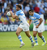 Marcelo Bosch of Argentina receives the ball. Rugby World Cup Pool C match between Argentina and Georgia on September 25, 2015 at Kingsholm Stadium in Gloucester, England. Photo by: Patrick Khachfe / Onside Images