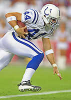 Sept. 27, 2009; Glendale, AZ, USA; Indianapolis Colts tight end (44) Dallas Clark against the Arizona Cardinals at University of Phoenix Stadium. Indianapolis defeated Arizona 31-10. Mandatory Credit: Mark J. Rebilas-