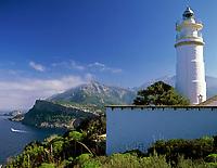 Spanien, Balearen, Mallorca, Port de Soller: Leuchtturm Cap Gros | Spain, Balearic Islands, Mallorca, Port de Soller: lighthouse Cap Gros