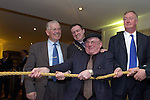 Pulling together at the launch of the World Indoor Tug of War Championships which will take place in the INEC Killarney were from left, Deputy Jackie Healy-Rae, TD and Minister for Arts, Sport and Tourism John O'Donoghue, who will both fight out the South Kerry constituency in the next election getting a helping hand from Mayor of Killarney Cllr. Tom Doherty and Tim Curtin, Chairman of the organising committee.<br />