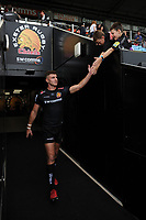 Ollie Devoto of Exeter Chiefs high-fives young supporters. Gallagher Premiership match, between Exeter Chiefs and Leicester Tigers on September 1, 2018 at Sandy Park in Exeter, England. Photo by: Patrick Khachfe / JMP