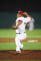 Auburn Doubledays relief pitcher David Ramos (19) during a game against the Tri-City ValleyCats on August 25, 2016 at Falcon Park in Auburn, New York.  Tri-City defeated Auburn 4-3.  (Mike Janes/Four Seam Images)