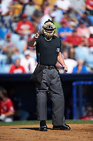 Umpire Richard Riley during a game between the New Hampshire Fisher Cats and Reading Fightin Phils on June 6, 2016 at FirstEnergy Stadium in Reading, Pennsylvania.  Reading defeated New Hampshire 2-1.  (Mike Janes/Four Seam Images)