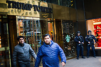NEW YORK, NY - APRIL 4: Pedestrian walk exit Trump Tower as NYPD officers stand guard Where United States First Lady Melania Trump is living on April 4, 2017 in Manhattan, New York. Police Commissioner James O'Neill told lawmakers in February it costs the NYPD between $127,000 and $146,000 a day to protect the first lady and her 11-year-old son Barron. When the president is in town, the city pays more than $308,000.  Photo by VIEWpress/Eduardo MunozAlvarez
