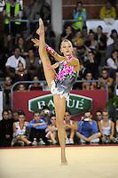 November 8, 2008; Durango, Spain (near Bilbao); Rhythmic gymnast Melitina Staniouta of Belarus performs gala handsfree at 2008 Euskalgym International..