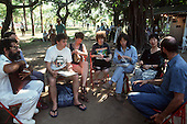 United Nations Conference on the Environment and Development, Rio de Janeiro, 1992. Global Forum; meeting of environmental activists; Olympio Serra, Lars Lovold, Linda Rabben, Kenko Minami and others.