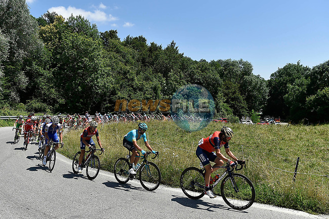 Action from the Italian National Championships 2017 Elite Men road race running 236km from Asti to Ivrea, Piemonte, Italy. 25/06/2017.<br /> Picture: Foto LaPresse/Fabio Ferrari   Cyclefile<br /> <br /> <br /> All photos usage must carry mandatory copyright credit (&copy; Cyclefile   LaPresse/Fabio Ferrari)