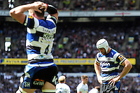 Dave Attwood of Bath Rugby is dejected at the final whistle during the Aviva Premiership Rugby Final between Bath Rugby and Saracens at Twickenham Stadium on Saturday 30th May 2015 (Photo by Rob Munro)