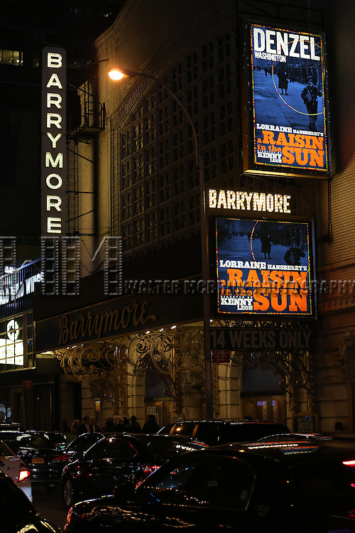 "Theatre Marquee for the Broadway Opening Night of  ""A Raisin In The Sun"" starring Denzel Washington at the Barrymore Theatre on April 3, 2014 in New York City."