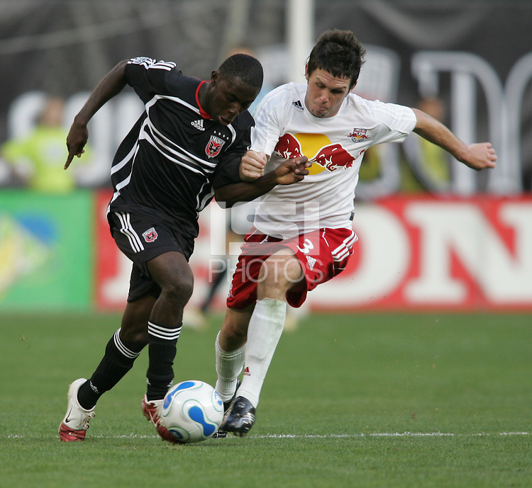 April 2, 2006: Washington, DC: DC United midfielder (9) Freddy Adu  holds off New York Red Bulls midfielder (3) Danny O'Rourke at RFK Stadium.  The game ended in a tie, 2-2.