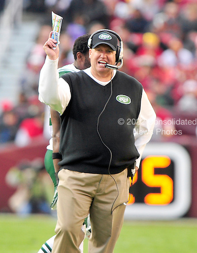 New York Jets head coach Rex Ryan calls signals during the third quarter against the Washington Redskins at FedEx Field in Landover, Maryland on Sunday, December 4, 2011.  The Jets won the game 34 - 19..Credit: Ron Sachs / CNP.(RESTRICTION: NO New York or New Jersey Newspapers or newspapers within a 75 mile radius of New York City)