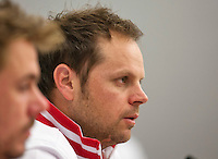 Swiss, Genève, September 14, 2015, Tennis,   Davis Cup, Swiss-Netherlands, press conference Swiss team ,  captain Severin Luthi and left Stan Wawrinka<br /> Photo: Tennisimages/Henk Koster