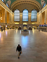 New York, New York City. New Yorkers are told to stay home during the corona virus, (COVID-19) so New York has become eerily empty. Grand Central Station at rush hour devoid of crowds.