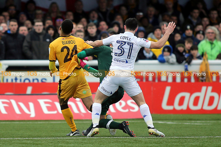 Leeds United goalkeeper, Marco Silvestre, fouls Sutton's Maxime Biamou and the home team are awarded a penalty which was duly converted by Jamie Collins during Sutton United  vs Leeds United, Emirates FA Cup Football at the Borough Sports Ground on 29th January 2017