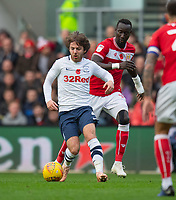 Preston North End's Ben Pearson (left) under pressure from Bristol City's Famara Diedhiou (right) <br /> <br /> Photographer David Horton/CameraSport<br /> <br /> The EFL Sky Bet Championship - Bristol City v Preston North End - Saturday 10th November 2018 - Ashton Gate Stadium - Bristol<br /> <br /> World Copyright © 2018 CameraSport. All rights reserved. 43 Linden Ave. Countesthorpe. Leicester. England. LE8 5PG - Tel: +44 (0) 116 277 4147 - admin@camerasport.com - www.camerasport.com