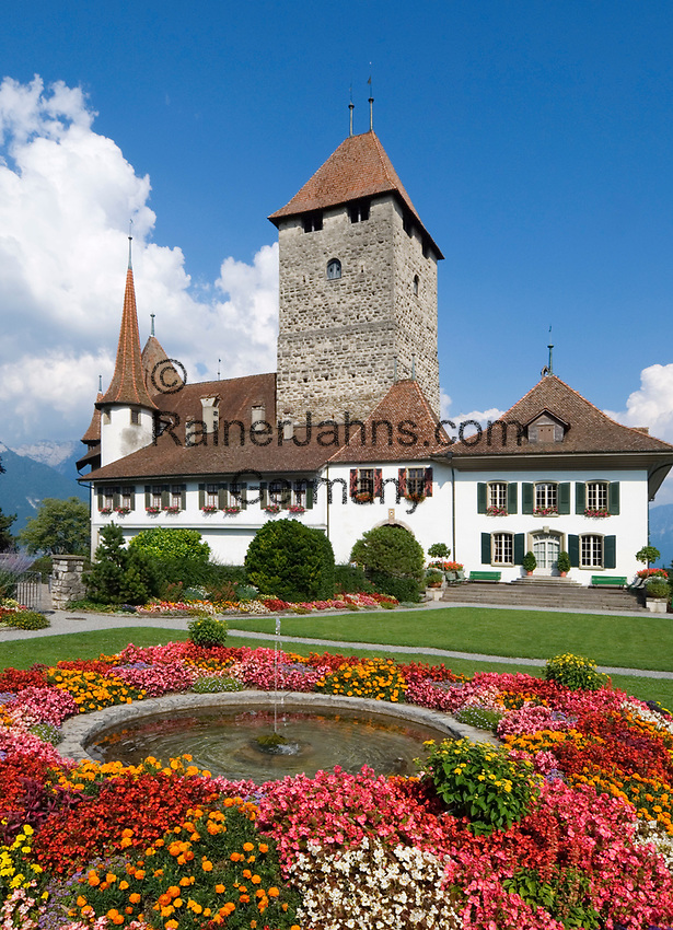 CHE, Schweiz, Kanton Bern, Berner Oberland, Spiez: Schloss Spiez am Thunersee | CHE, Switzerland, Bern Canton, Bernese Oberland, Spiez: castle Spiez at Lake Thun