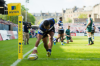 Cooper Vuna of Bath Rugby crosses the try-line but the score is soon ruled out. Aviva Premiership match, between Bath Rugby and London Irish on May 5, 2018 at the Recreation Ground in Bath, England. Photo by: Patrick Khachfe / Onside Images
