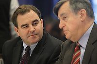 December 2012  File Photo -  Andrew Molson (L) and Lucien Bouchard (R )conference at the Jeune Chambre de Commerce de Montreal
