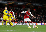 Arsenal's Olivier Giroud scoring his sides fifth goal during the Europa League Group H match at The Emirates Stadium, London. Picture date: December 7th 2017. Picture credit should read: David Klein/Sportimage