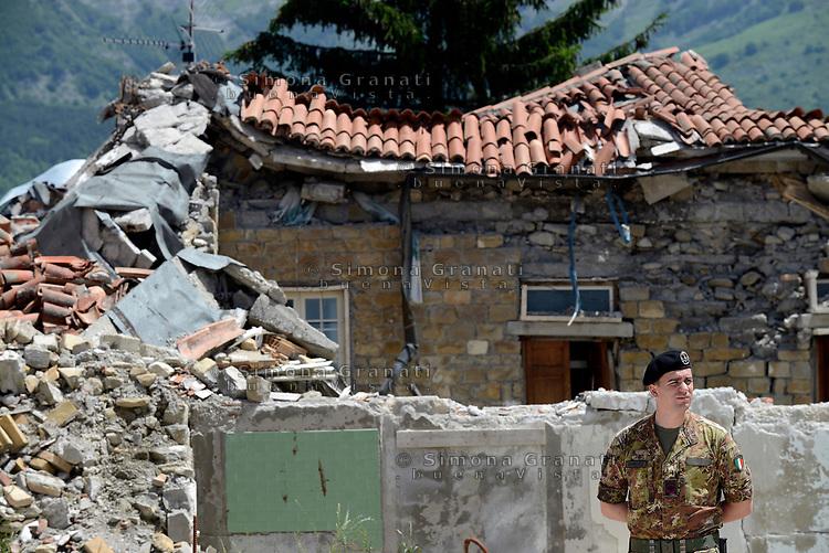 Amatrice, Rieti, 11 Giugno 2018<br /> Militare.<br /> Il Presidente del Consiglio Giuseppe Conte in visita sui luoghi del terremoto del 24 Agosto 2016