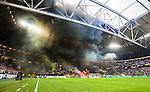 Solna 2014-08-13 Fotboll Allsvenskan AIK - Djurg&aring;rdens IF :  <br /> AIK:s supportrar eldar med bengaliska eldar och r&ouml;k innan avspark <br /> (Foto: Kenta J&ouml;nsson) Nyckelord:  AIK Gnaget Friends Arena Allsvenskan Derby Djurg&aring;rden DIF supporter fans publik supporters