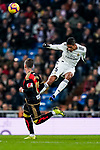 Raphael Varane of Real Madrid heads the ball during the La Liga 2018-19 match between Real Madrid and Rayo Vallencano at Estadio Santiago Bernabeu on December 15 2018 in Madrid, Spain. Photo by Diego Souto / Power Sport Images