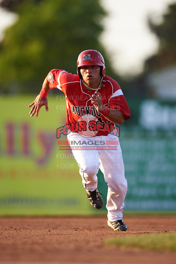 Batavia Muckdogs first baseman Eric Gutierrez (43) running the bases during a game against the Brooklyn Cyclones on July 5, 2016 at Dwyer Stadium in Batavia, New York.  Brooklyn defeated Batavia 5-1.  (Mike Janes/Four Seam Images)
