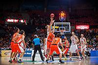 VALENCIA, SPAIN - OCTOBER 20: Start EUROCUP match between Valencia Basket Club and CAI Zaragozaat Fonteta Stadium on   October 22, 2015 in Valencia, Spain