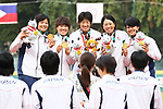 Japan team group (JPN), <br /> AUGUST 24, 2018 - Softball : <br /> Women's Medal ceremony <br /> between Japan - Chinese Taipei <br /> at Gelora Bung Karno Softball field <br /> during the 2018 Jakarta Palembang Asian Games <br /> in Jakarta, Indonesia. <br /> (Photo by Naoki Nishimura/AFLO SPORT)