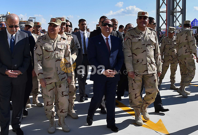 Egyptian President Abdel Fattah al-Sisi, opens Mono and adenosine triphosphate factory at El-Fayoum governorate, Egypt, on December 17, 2015. Photo by Egyptian President Office