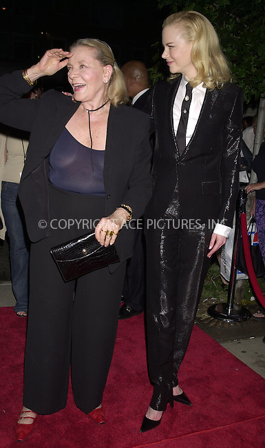"Nicole Kidman and Lauren Bacall at the premiere of ""Human Stain."" New York, September 10, 2003. Please byline: NY Photo Press.   ..*PAY-PER-USE*      ....NY Photo Press:  ..phone (646) 267-6913;   ..e-mail: info@nyphotopress.com"