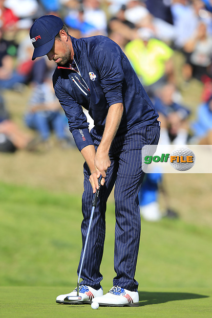 Webb Simpson (Team USA) putts on the 9th green during Saturday's Foursomes Matches at the 2018 Ryder Cup 2018, Le Golf National, Ile-de-France, France. 29/09/2018.<br /> Picture Eoin Clarke / Golffile.ie<br /> <br /> All photo usage must carry mandatory copyright credit (© Golffile | Eoin Clarke)