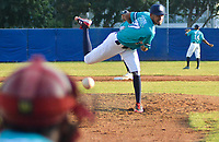 CARTAGENA - COLOMBIA, 25-11-2019: Carlos Solorzano pitcher perdedor de los Leones de Santa Marta ante Toros de Sincelejo, durante partido de La Liga Profesional de Béisbol Colombiano 2019/2020. / Carlos Solorzano pitcher loser of Leones de Santa Marta against Toros de Sincelejo, during match of the Colombian Baseball Professional League 2019/2020. Photo: VizzorImage / Gustavo Pacheco / Contribuidor.