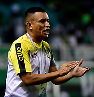 PALMIRA-COLOMBIA, 28-11-2019: César Torres, técnico de Alianza Petrolera gesticula durante partido entre Deportivo Cali y Alianza Petrolera de la fecha 6 de los cuadrangulares semifinales jugado en el estadio Deportivo Cali (Palmaseca) de la ciudad de Palmira. / Cesar Torres, coach of Alianza Petrolera gestures during a match between Deportivo Cali and Alianza Petrolera of the 6th date of the quarters semifinals played at the Deportivo Cali (Palmaseca) stadium in Palmira city. / Photo: VizzorImage / Nelson Ríos / Cont.
