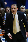 31 December 2014: Wofford head coach Mike Young. The Duke University Blue Devils hosted the Wofford College Terriers at Cameron Indoor Stadium in Durham, North Carolina in a 2014-16 NCAA Men's Basketball Division I game.