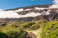 View of mountain range from a dirt road on the south shore of Maui