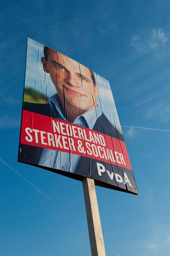 Nederland, Amsterdam, 1 sep 2012.PvdA verkiezingscampagne. Diederik Samsom op een affiche.Foto (c): Michiel Wijnbergh