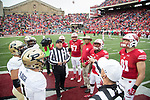 Wisconsin Badgers Honorary Captain Sidney Williams with captains D'Cota Dixon (14), Alec James (57), Natrell Jamerson (12), Troy Fumagalli (81) watch the coin toss during an NCAA College Big Ten Conference football game against the Purdue Boilermakers Saturday, October 14, 2017, in Madison, Wis. The Badgers won 17-9. (Photo by David Stluka)