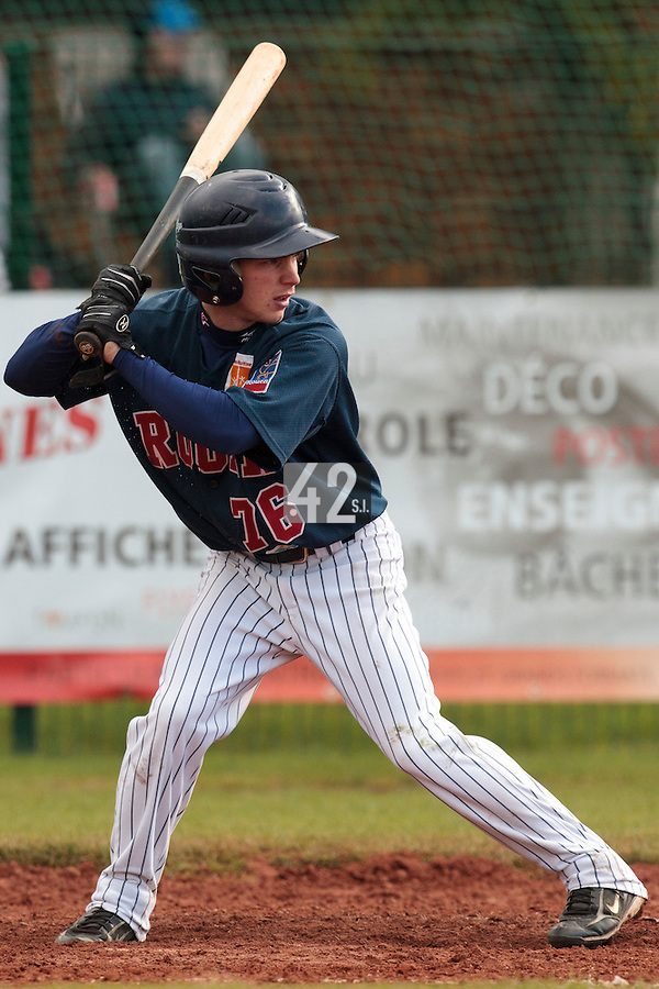 16 October 2010: Yohann Bret of Rouen is seen at bat during Rouen 16-4 win over Savigny, during game 1 of the French championship finals, in Savigny sur Orge, France.