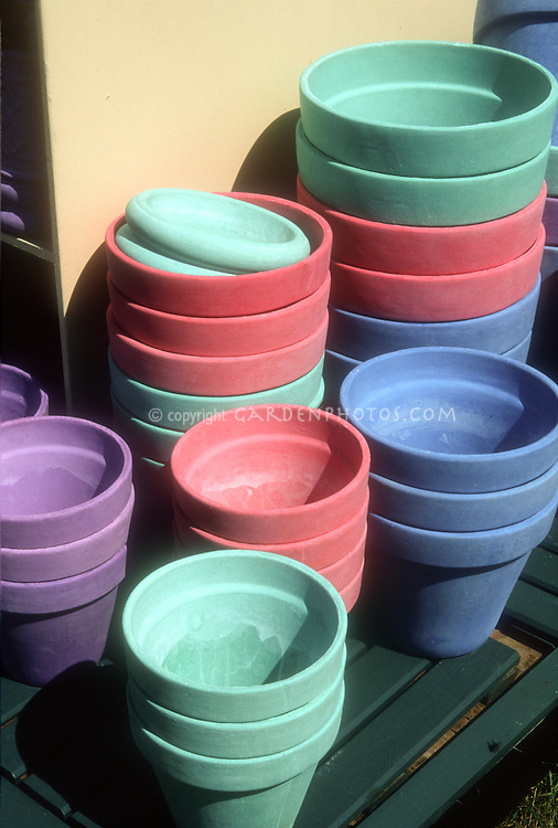 Colorful Empty Clay Pots, Stacked And Clean, Ready For Garden Use, Green And