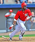 12 March 2012: Washington Nationals outfielder Roger Bernadina in action during a Spring Training game against the St. Louis Cardinals at Space Coast Stadium in Viera, Florida. The Nationals defeated the Cardinals 8-4 in Grapefruit League play. Mandatory Credit: Ed Wolfstein Photo