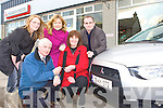 Murphy Motors Salesperson Donal Bradley presents Betty Culloty keys for a 09 Mitsubishi car, which she won on a Radio Kerry competition, at Murphy Motors, Barradubh on Friday also in picture is Betty daughter Elaine and Joanne McGillicuddy and Francis Fitzgibbon from Radio Kerry.