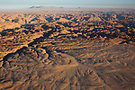 Namibia, Namib Desert, Dorob National Park, aerial of erosion forms at Welwitschia Plains and canyons of the Swakop River valley