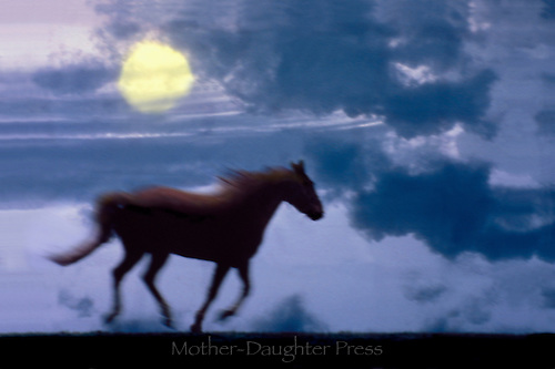 Horse running at dusk with dramatic clouds and setting sun