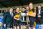 Co Board Chairman Patrick O'Sullivan, Colm Cooper, Man of the Match, Jim Garvey, Garveys and Johnny Buckley Captain Dr Crokes at the Senior County Football Championship final at Fitzgerald Stadium on Sunday.