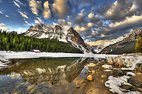Serene morning scene at Lake Louise in Banff National Park, Alberta, Canada