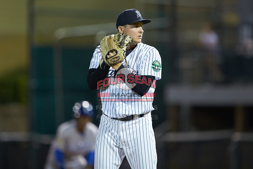 Pulaski Yankees relief pitcher Hayden Wesneski (71) looks to his catcher for the sign against the Burlington Royals at Calfee Park on August 31, 2019 in Pulaski, Virginia. The Yankees defeated the Royals 6-0. (Brian Westerholt/Four Seam Images)