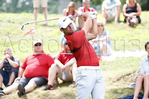 06.08.2016. Cromwell, CT, USA.  Paul Casey hits from the 17th tee during the third round of the 2016 Travelers Championship at TPC River Highlands in Cromwell, Connecticut.